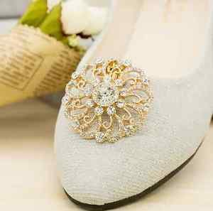 Gold Tone Flower Rhinestone Crystal Wedding Shoe Charm Clips Decoration Pair
