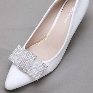Bridal Wedding Rhinestone Crystal Ladies Fashion Bow Shoe Clips Charms Pair