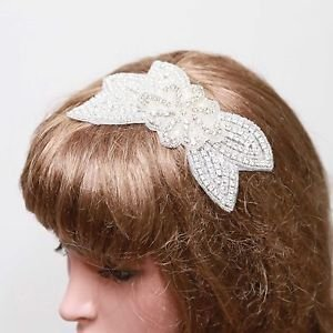 Wedding Bridal Crystal Diamante Rhinestone Bow Hair Clip Grip Fascinator