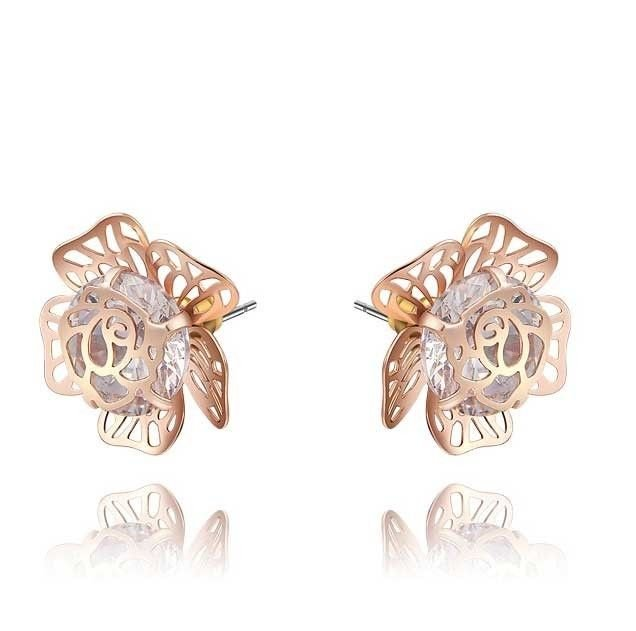 Rose Gold Flower Rose Cubric Zirconia Zircon Crystal Earring Fashion Jewelry