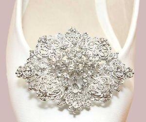Bridal Wedding Prom Rhinestone Oval Princess Design Silver Shoe Clip Accessory