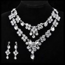 Bridal Wedding Silver Teardrop Clear Rhinestone Crystal Earring Necklace Set