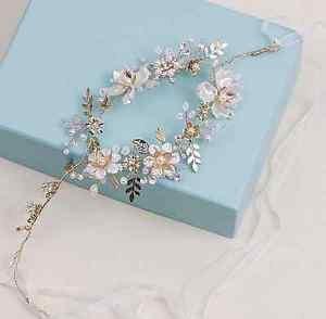 Wedding Bridal Flower Pearl Rhinestone Crystal Gold Tiara Headpiece Hair Piece