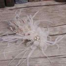Wedding Bridal White Flower Feather Gold Hair Alligator Clip Headpiece