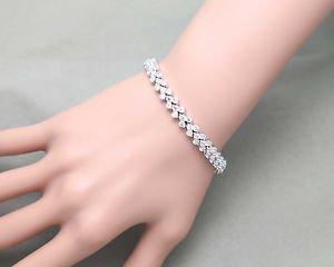 Cubic Zirconia Platinum Plated Tennis CZ Bracelet Jewelry Wedding Birthday Gift