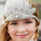 Wedding Flower Girl Rhinestone Crystal White Applique Feather Headband Headpiece