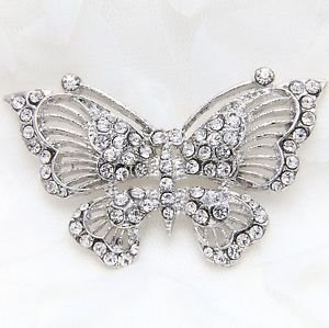 Silver Or Gold Tone Rhinestone Crystal Wedding Decoration Butterfly Brooch Pin
