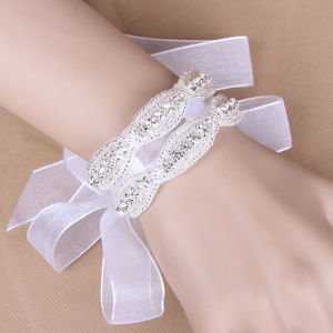 Wedding Bridal Diamante Crystal Rhinestone Applique Bracelet Flower Wrap