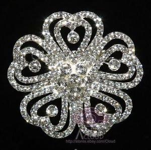 Flower Brooch Pin, Rhinestone Crystal Brooch, Wedding Cake Brooch, Bridal Brooch