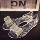 Bridal Wedding Prom Rhinestone Bow Design Silver Shoe Clip Jewelry Accessories