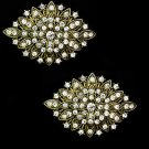 Wedding Crystal Boots Shoe Buckle Old Gold Copper Rhinestone Shoe Clips Pair