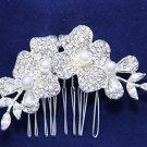 Art Deco Wedding Bridal Ivory Faux Pearl Flower Vintage Hair Comb Headpiece