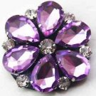 Purple Tone Sparkling Acrylic Crystal Wedding Flower Bridal Shoe Clips Pair