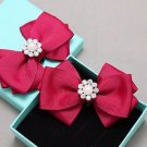 Ribbon Bow Crystal Wedding Bridal Pearl Snowflake Winter Boots Shoe Clips Pair