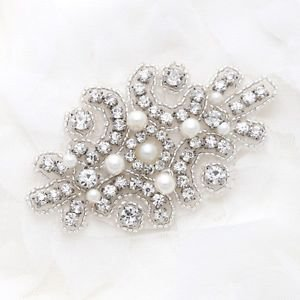 Ivory Pearl Crystal Sew Iron On Wedding Bridal Dress Gown Applique DIY Craft