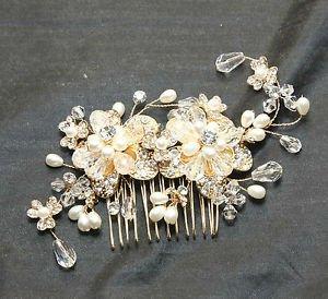 Gold Flower Beads Wedding Bridal Ivory Pearl Headpiece Hair Comb Fascinator