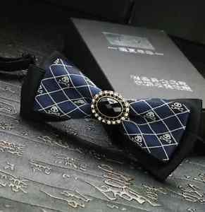 Men's Christmas Party Black & Blue Skull Crossbones Pre-Tied Necktie Bowtie
