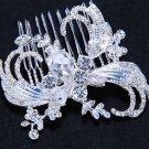Leaf Feather Vintage Style Bridal Wedding Teardrop Rhinestone Crystal Hair Comb
