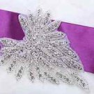 Wedding Bridal Dress Gown Gloves Sash Rhinestone Crystal Sew Iron Applique Pair