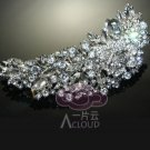 Large Vintage Style Wedding Bridal Rose Flower Moon Rhinestone Crystal Hair Comb