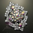 Vintage Style Wedding Bridal Clear Aurora Borealis Rhinestone Crystal Brooch Pin
