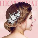 Organza Flowers Faux Pearl Wedding Crystal Hair Clip Headpiece Accessories