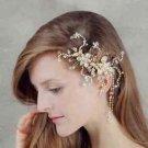 Gold Flower Bridal Wedding Ivory Pearl Rhinestone Crystal Tiara Drop Hair Comb
