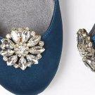 Wedding Bridal Rhinestone Crystal Silver Gold Round Flower Shoe Clips Pair