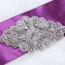 Vintage Style Motif Rhinestone Crystal Beaded Bridal Gown Sash Applique 3.5""