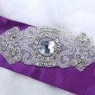 Wedding Bridal Motif Rhinestone Crystal Sash Dress Applique DIY Sew Iron Craft