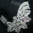 Wedding Bridal Prom Vintage Style Leaf Rhinestone Crystal Hair Comb Headpiece