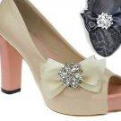 Rhinestone Crystal Wedding Bridal Shoe Bow Boots Clips Pair Jewelry -CA
