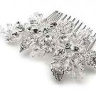Wedding Flower Rhinestone Crystal Leaf Bridal Hair Comb Headpiece Accessoires