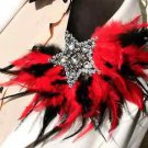 Black Red Star Lady Men Wedding Peacock Feather Shoulder Pad Brooch Pin