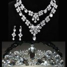 Wedding Bridal Rhinestone Dangle Earrings Necklace Crown Headpiece Jewelry Set