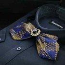 Wedding Grooms Men Blue Gold Tone Checks Grid Pre Tied Lace Bow Tie Necktie