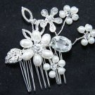 Wedding Bridal Faux Pearl Flower Rhinestone Crystal Headpiece Hair Comb Jewelry