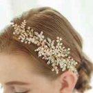 Wedding Beads Pearl Flower Rhinestone Crystal Gold Tiara Headpiece Accessories