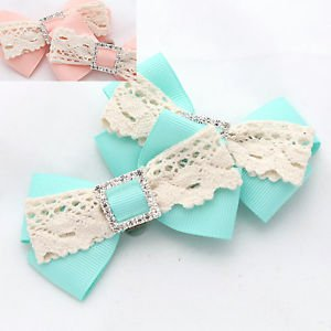 Vintage Lace Rhinestone Crystal Peach Or Aqua Ribbon Bow Butterfly Shoe Clips