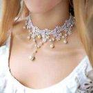 Sexy Wedding Bridal White Lace Cream Pearl Choker Necklace