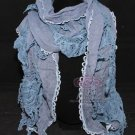 Winter Fashion New Women Blue Lace Flower Crochet Long Scarf Shawl