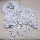Vintage Costume Fashion Winter Blue Grey Gray Lace Crochet Long Scarf Shawl