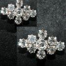 LOT OF 2 Mini Rhinestone Crystal Silver Tone Rhombus Alloy Wedding Brooch Pin