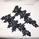 1 Pair Black Bridal Wedding Flower Floral Rose Embroidered Pearl Lace Applique