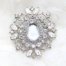 Wedding Bridal Clear Diamante Crystal Rhinestone Vintage Style Brooch Pin