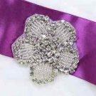 Cute Flower Silver Beaded Rhinestone Crystal Wedding Bridal Craft Applique