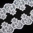 Bridal Wedding Veil Dress White Flower Embroidered Lace Sequin Trim Per 1 Yard