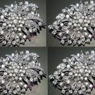 Lot Of 4 Wedding Bridal Dress Sash Hair Rhinsetone Crystal Brooch Pin Jewelry