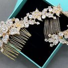 Bridal Wedding Flower Rhinestone Crystal Gold Hair Comb Chain Tiara Headpiece