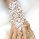 Wedding Bridal Vintage White Lace Chain Pearl Or Rhinestone Bracelet Jewelry